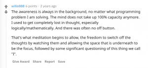 Reddit discussion about programmers who meditate, assemble!